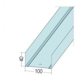 Protektor Galvanised Steel DIN Standard Track Profile 40mm x 100mm x 40mm x 0.6mm 4m 1 Length
