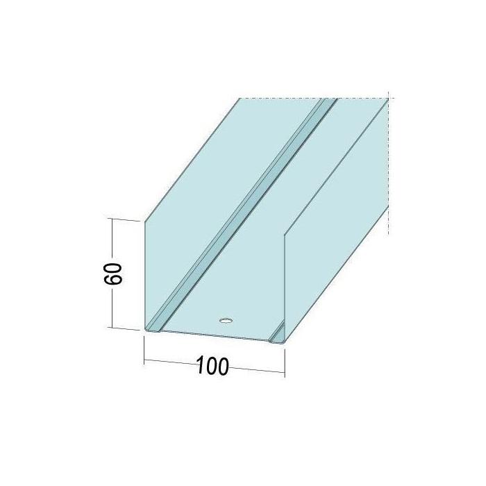 Protektor Galvanised Steel DIN Standard Deep Track Profile 60mm x 100mm x 60mm x 0.6mm 4m 1 Length