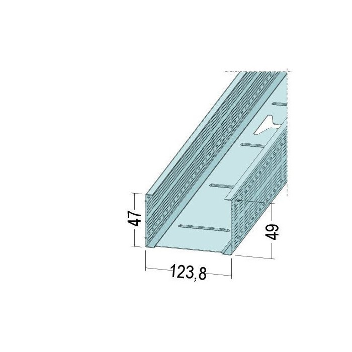 Protektor Galvanised Steel DIN Standard 0.6mm Stud Profile 124mm x 0.6mm x 3m 1 Length