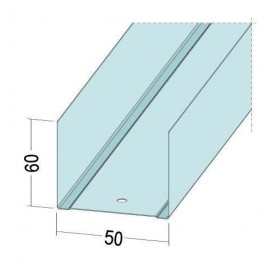 Protektor Galvanised Steel DIN Standard Deep Track Profile 60mm x 50mm x 60mm x 0.6mm 4m 1 Length