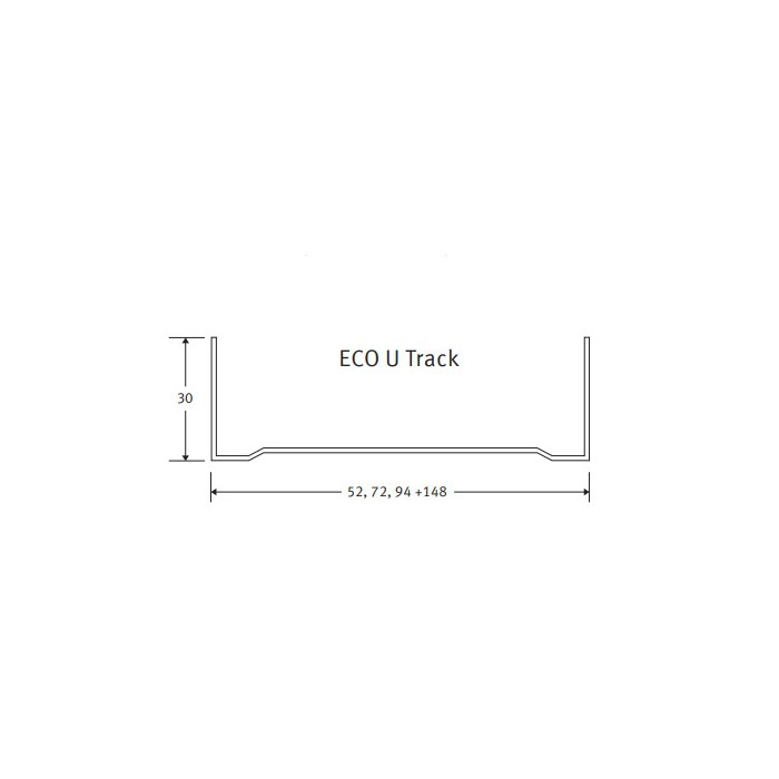 Protektor Galvanised Steel Eco Standard Track Profile 30mm x 148mm x 30mm x 3m