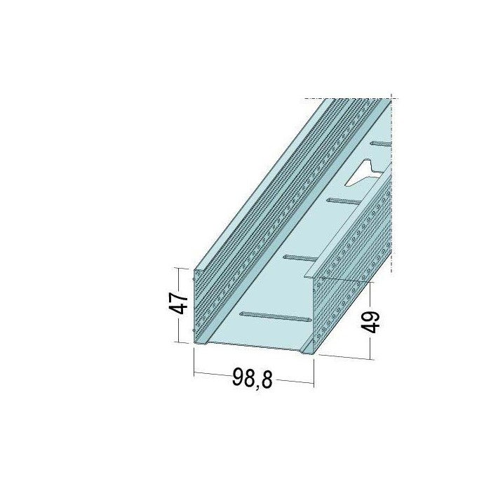 Protektor Galvanised Steel DIN Standard 0.6mm Stud Profile 99mm x 0.6mm x 4m 1 Length