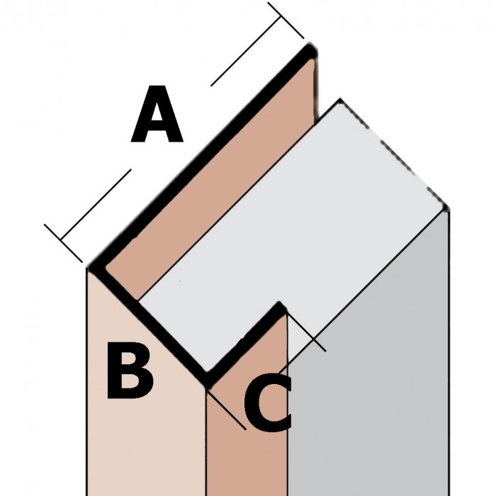 Wemico 42mm x 27mm x 15mm x 250cm White PVC Corner Angle Profile (1 length)