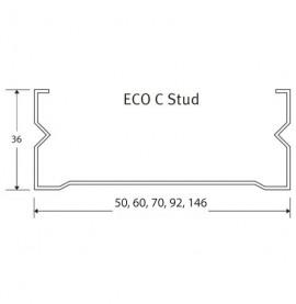 Protektor Galvanised Steel Eco C Stud Profile 36mm x 60mm x 36mm x 2.4m 1 Length