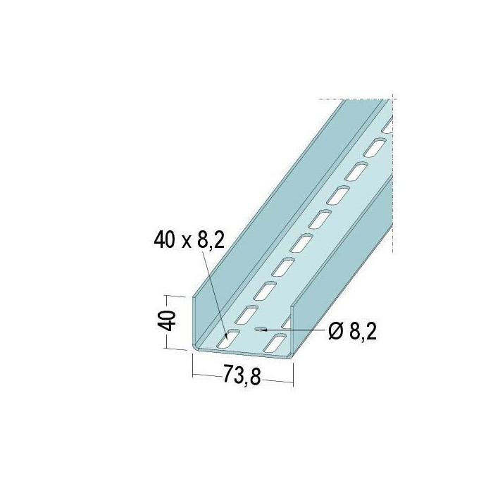 Protektor Galvanised Steel Door Reinforcement Profile 73.8mm x 2mm x 4m