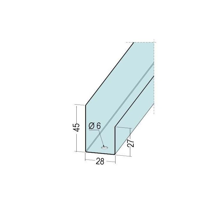 Protektor Galvanised Steel DIN Standard U Perimeter Connection Profile 45mm x 28mm x 27mm 3m