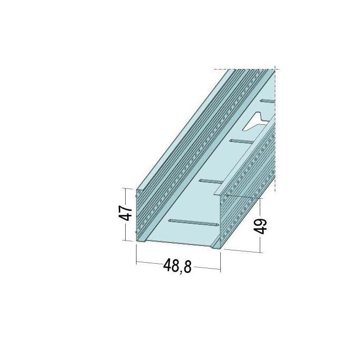 Protektor Galvanised Steel DIN Standard 0.6mm Stud Profile 49 x 0.6mm x 3m 1 Length