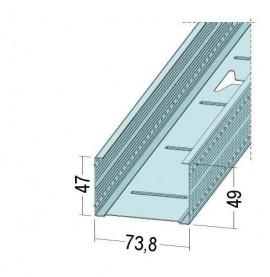 Protektor Galvanised Steel DIN Standard 0.6mm Stud Profile 74 x 0.6mm x 4.5m 1 Length