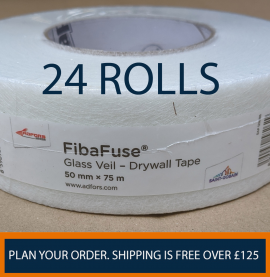 FibaFuse Glass Veil Paperless Drywall Tape 75m x 50mm Wide 1 Box Containing 24 Rolls