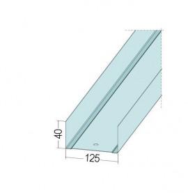 Protektor Galvanised Steel DIN Standard Track Profile 40mm x 125mm x 40mm x 0.6mm 4m 1 Length