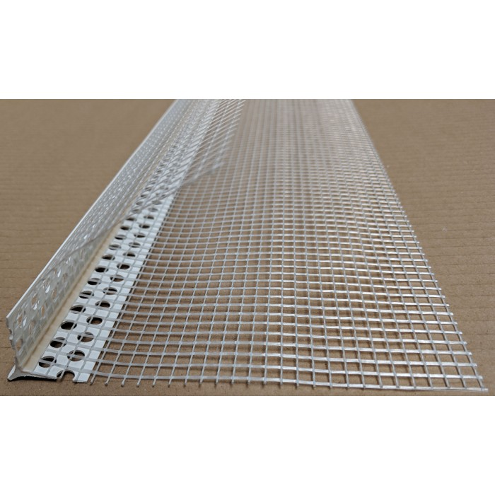 PVC Corner Bead With Glass Fibre Mesh And Extended Arris 10mm Render Depth 2.5m 1 Length