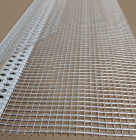 PVC Corner Bead With Glass Fibre Mesh And Extended Arris 14mm Render Depth 2.5m 1 Length