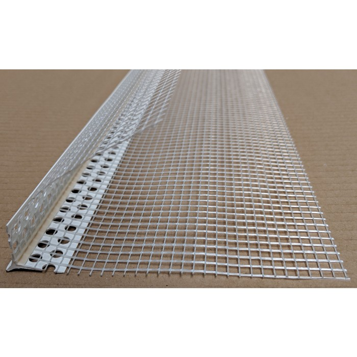 PVC Corner Bead With Glass Fibre Mesh And Extended Arris 6mm Render Depth 2.5m 1 Length