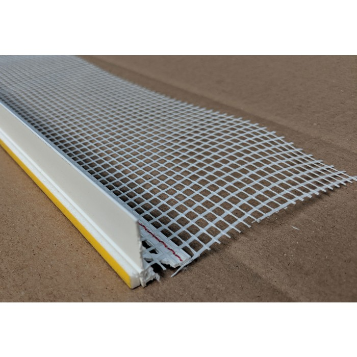White PVC Self Adhesive Window / Door Frameseal Bead With Mesh 6mm Render Depth 2.6m 1 Length