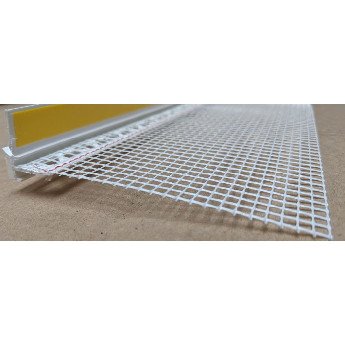 White PVC Self Adhesive Window / Door Frameseal Bead With Mesh 9mm Render Depth 2.6m 1 Length