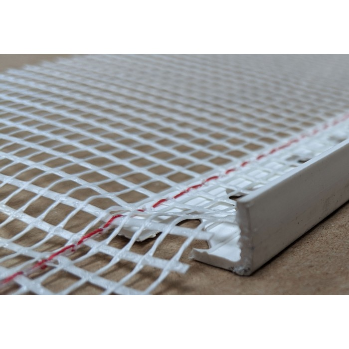 White PVC Stop Bead with Fibre Glass Mesh 11mm Render Depth 2.5m 1 length