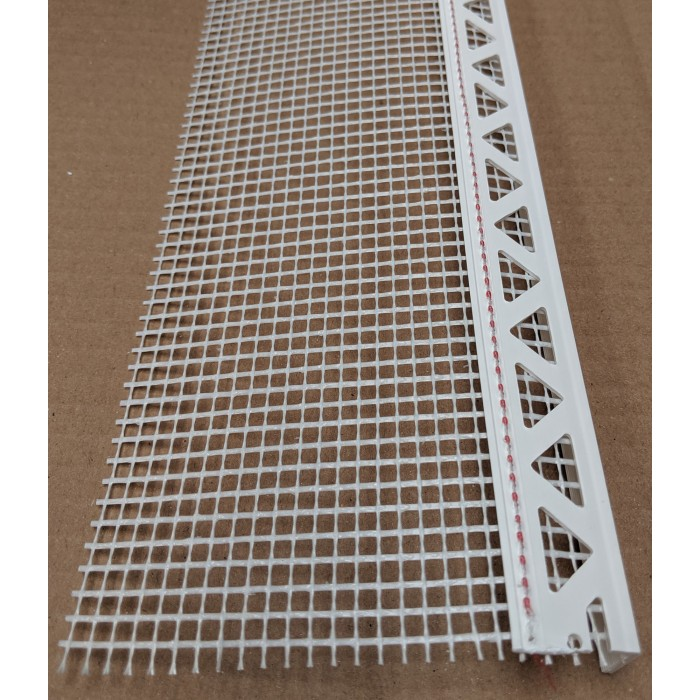 White PVC Stop Bead with Fibre Glass Mesh 14mm Render Depth 2.5m 1 length