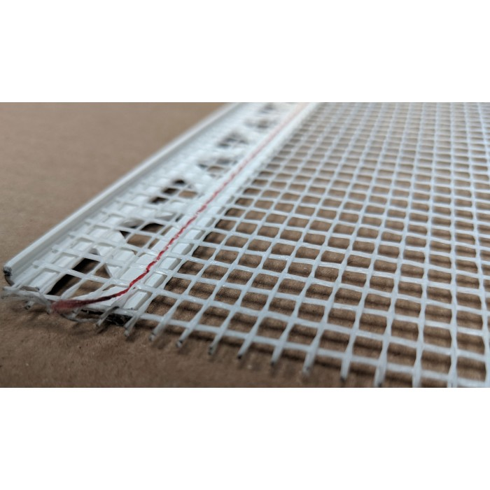 White PVC Stop Bead with Fibre Glass Mesh 3mm Render Depth 2.5m 1 length