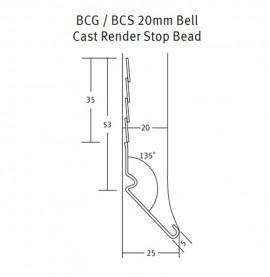 Protektor 20mm Bell Cast Galvanised Steel Stop Bead 3M (box 25)