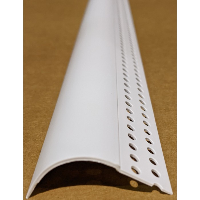 "Trim-Tex 3/4"" R. Bullnose Kerfed White PVC Bead 1 Length Part Code 7080"