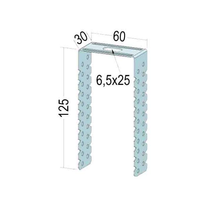 Protektor Galvanised Steel U-Hanger for CD Profiles 60 x 27 x 125mm
