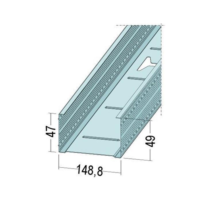 Protektor Galvanised Steel DIN Standard 0.6mm Stud Profile 149mm x 0.6mm x 4m 1 Length
