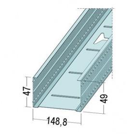 Protektor Galvanised Steel DIN Standard 0.6mm Stud Profile 149mm x 0.6mm x 3m 1 Length