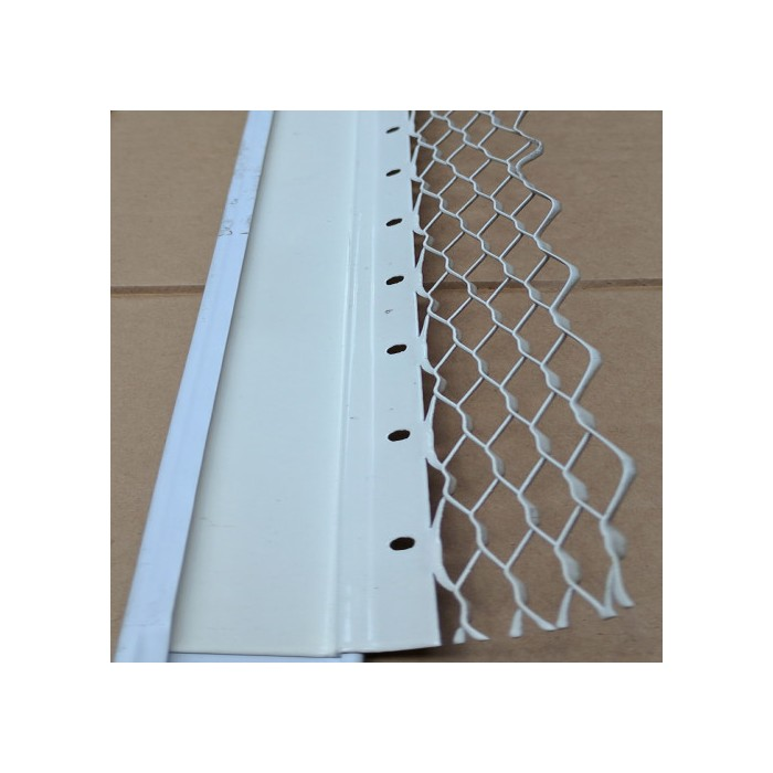 Wemico 20mm Render Bellcast Nosed Galvanised White Polyester Powder Coating  3.0m (1 length)